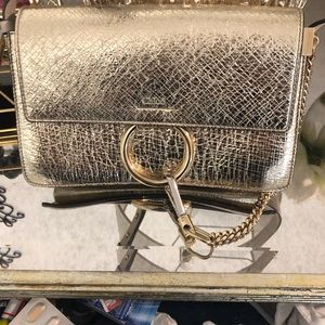 Chloe gold clutch bag